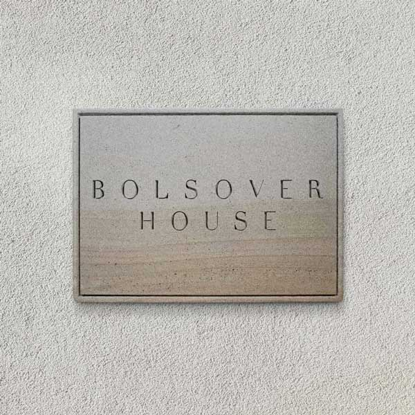 Bolsova House naturally engraved plaque in Forest of Dean sandstone