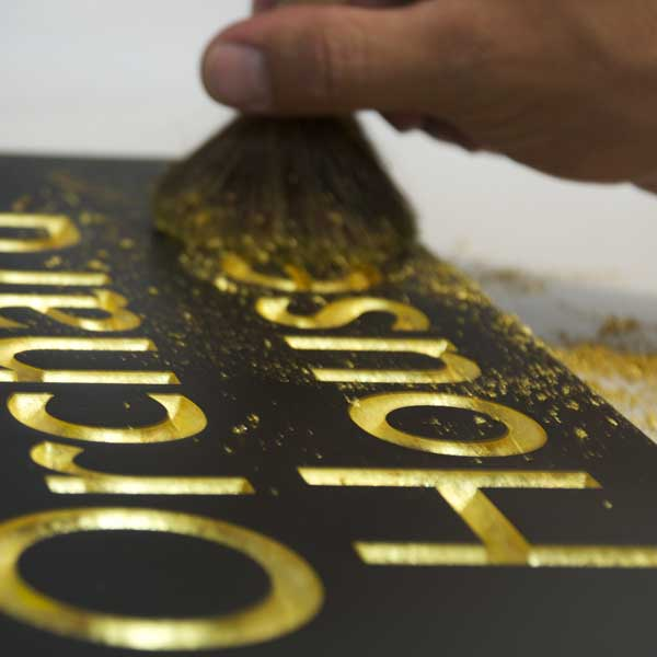 Finest quality gilding at Stone Sign