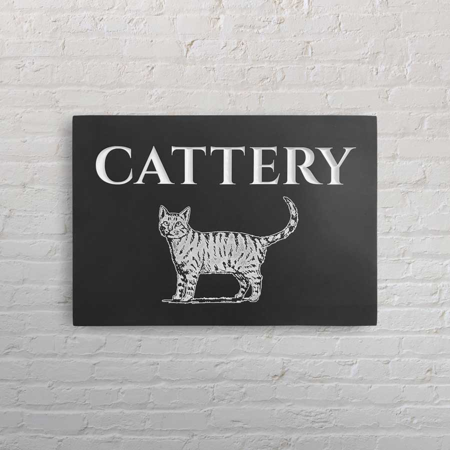 Stone Sign St Fagans Cattery Business Plaque