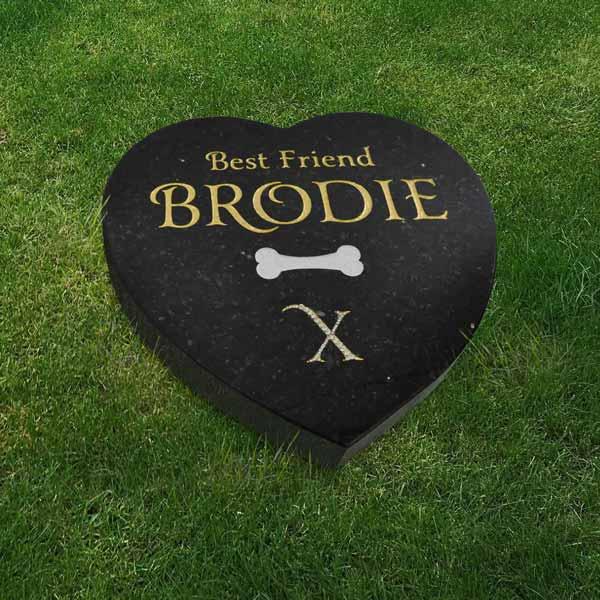 Black granite heart-shaped pet memorial with gilded lettering