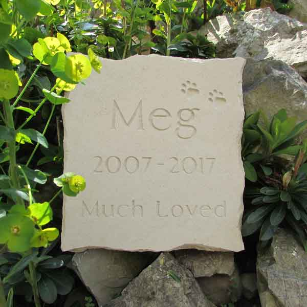 Portland stone pet memorial with natural engraving