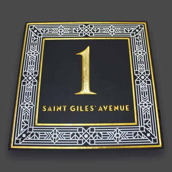 Stone Sign gilded and enamel st giles avenue house sign