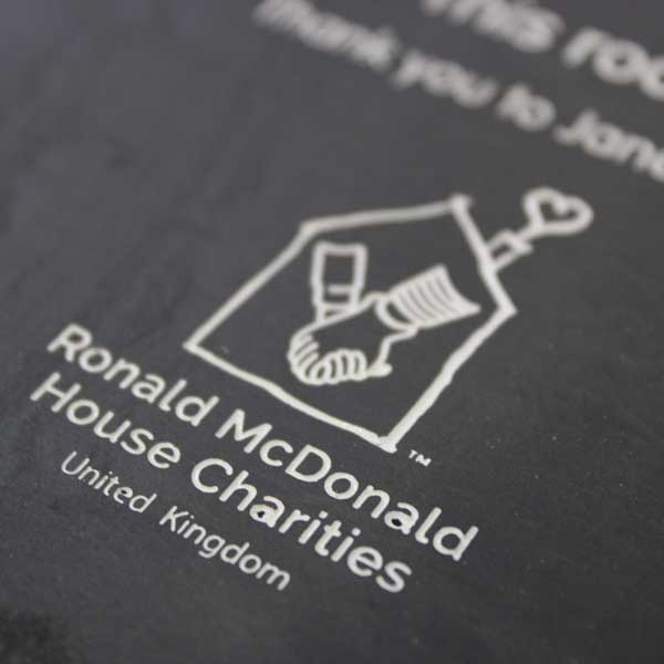 Stone Sign for Ronald McDonald House and McDonalds-welsh slate business signage