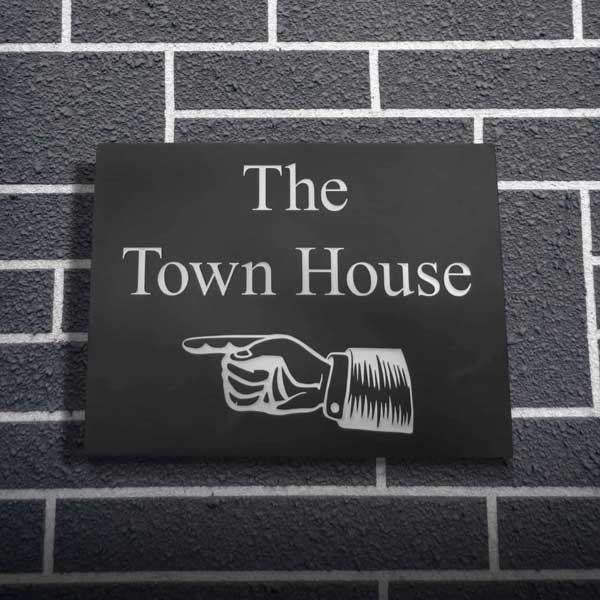 The Town House Welsh slate house plaque with white enamel inscription